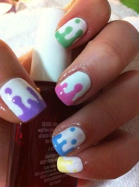 How to do your nails like this? Easy! Use a bobby pin to make the dots, then drag it down and connect the colored polish at the bottom. Found this idea somewhere on Tumblr. chelseylouise: Nails Art, Cute Nails, Nails Design, Paintings Splatter, Nails Ideas, Lava Lamps, Bobby Pin, Drip Nails, Paintings Nails