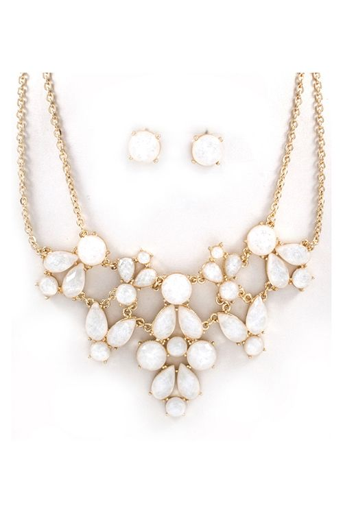 White and Gold Statement Necklace Rivierra Necklace in White Shimmer
