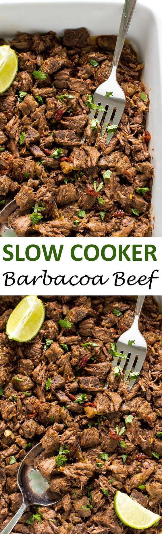 Melt in your mouth Slow Cooker Barbacoa Beef. Cooked low and slow for 8 hours! Perfect for tacos, burritos and quesadillas!