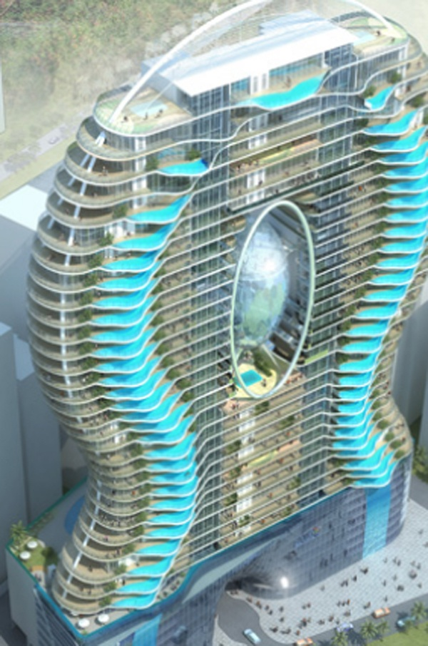 The future Aquaria Grande Tower in India.  Swimming Pool Balcony = possibly unsafe, but definitely awesome!