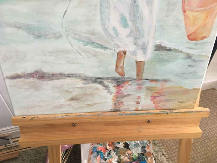 Girl at beach I have nearly finished her
