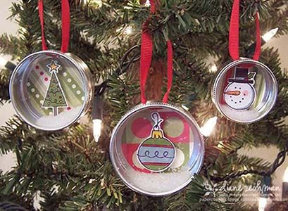 No sew, easy ornaments that is in alignment with my other guilty pleasure... scrapbooking.