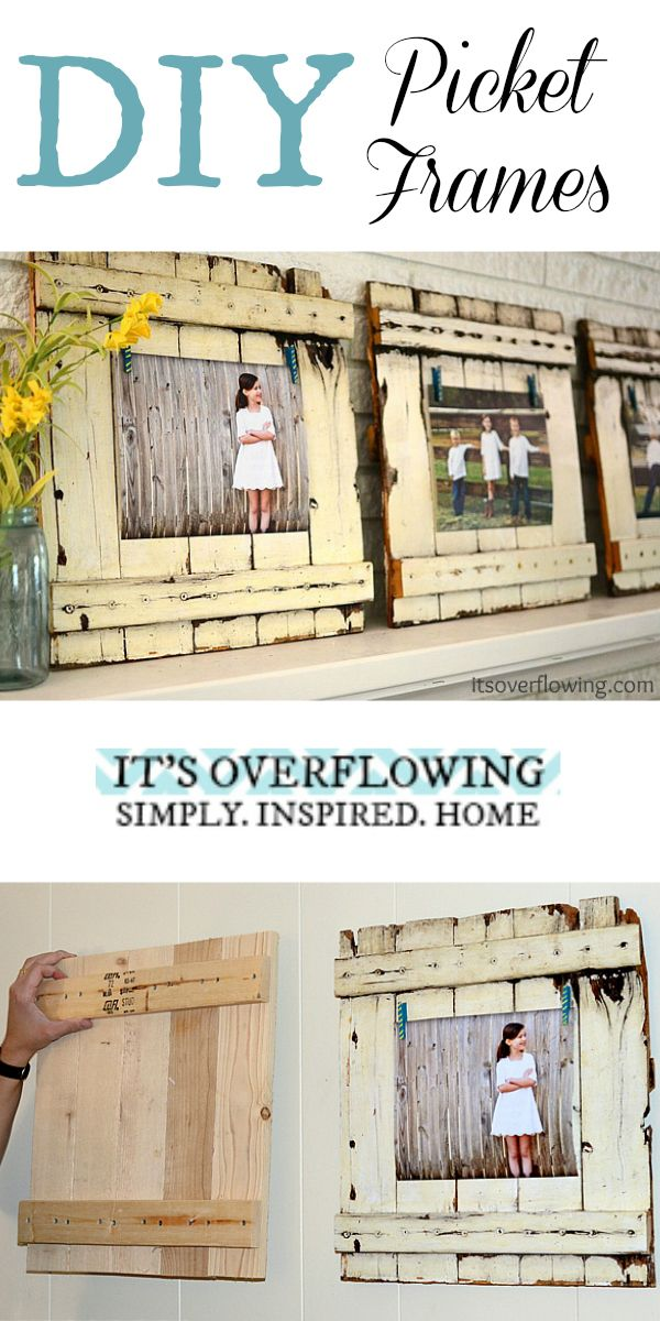 DIY Picket Frame Tutorial - Easy and SO Cute! @ItsOverflowing.com.com.com.com.com.com.com.com.com.com.com