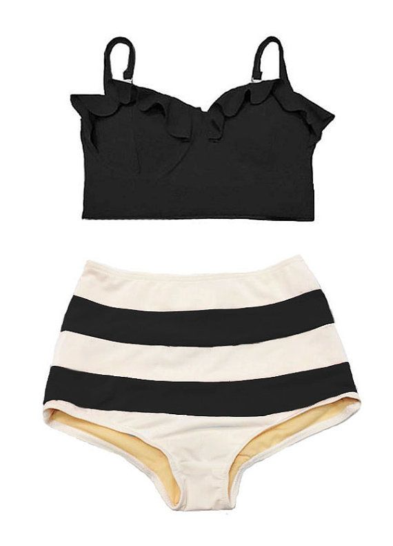Swimwear, Swimsuit, Bathing suit, Black Midkini Top and White Black Stripe Bikini 2PC Swimwear Swimsuit Swim Bath Bathing suit Swim wear S M