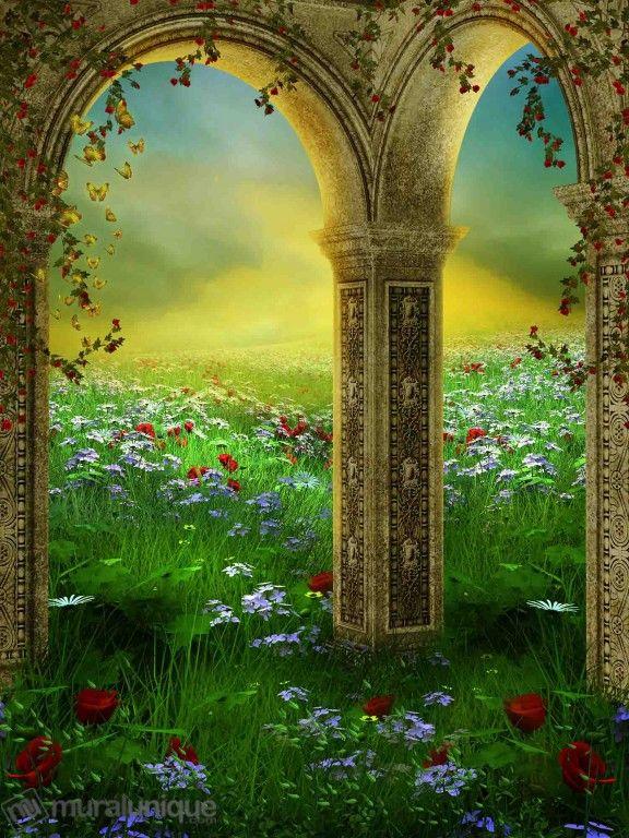 Paysage d'Été avec des Arches et des Roses | Achetez en Ligne des Murales en Papier Peint Décoratives- Muralunique.com