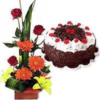 Seasonal Flower Arrangement with 1 Lb Black Forest Cake