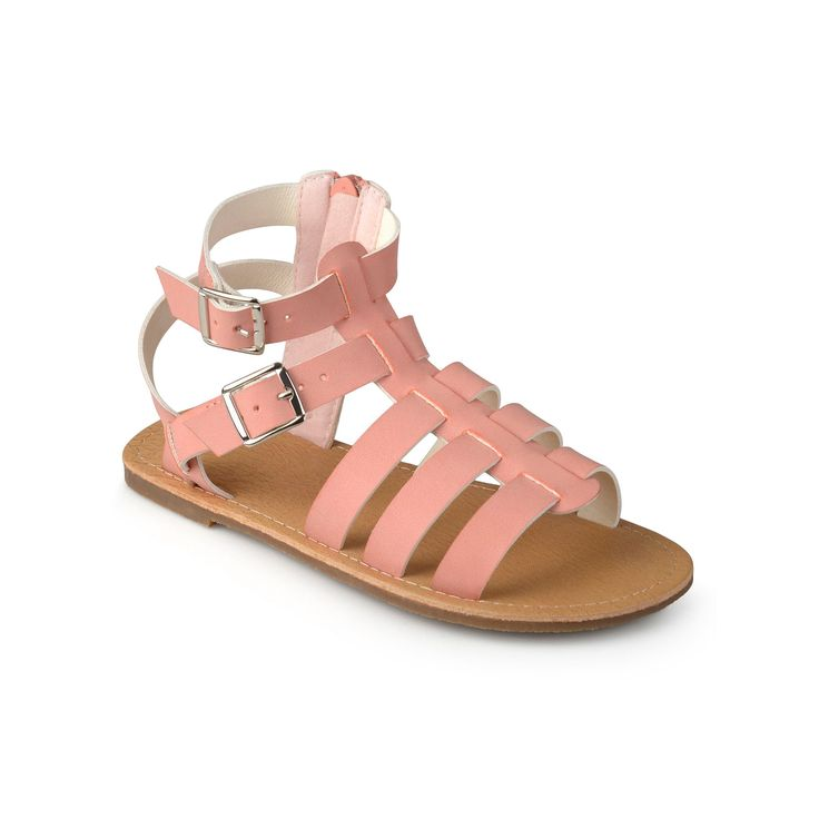 Journee Zoey Girls' Gladiator Sandals, Girl's, Size: 9 T, Brt Pink