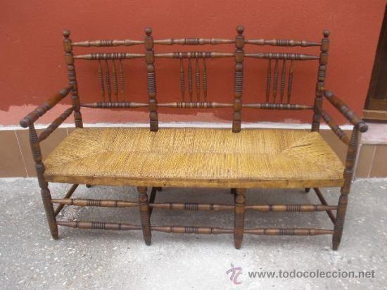 Banco de madera torneado asiento de enea antig edades - Sillas antiguas de madera ...