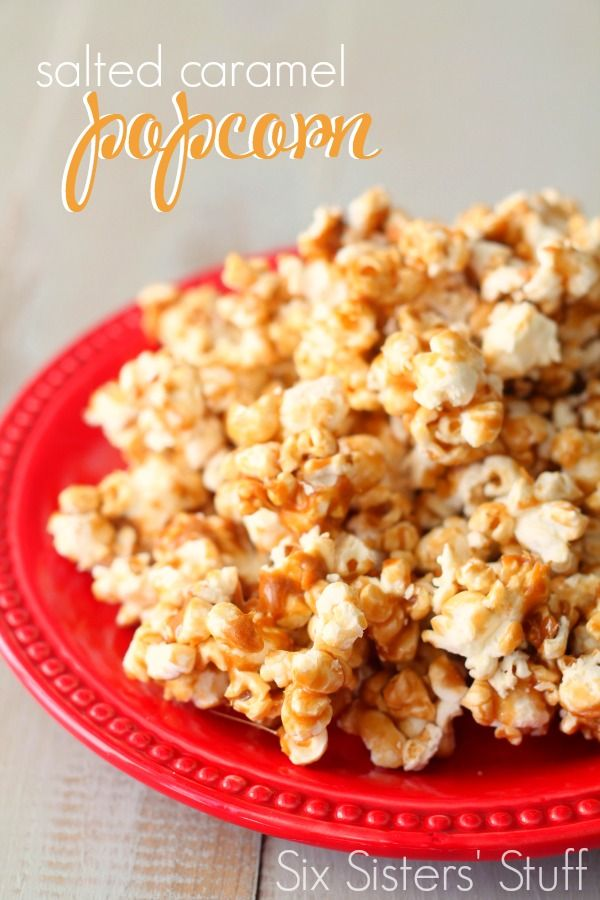 This Salted Caramel Popcorn is the perfect combination of sweet and salty!   SixSistersStuff.com