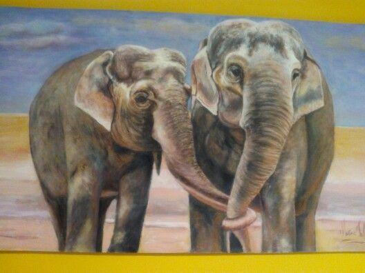 Elefantes. Acrílico