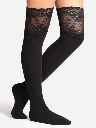 Black Non-slip Lace Trim Cotton Tights -SheIn(Sheinside)
