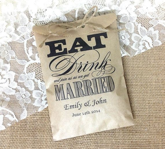 Personalized 20 favor kraft bag rustic wedding gift
