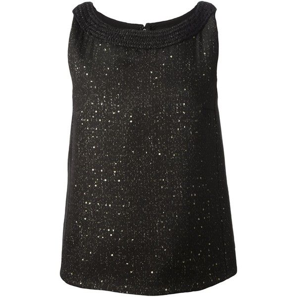 Giambattista Valli Sequined Tank Top (2.195 BRL) ❤ liked on Polyvore featuring tops, tank tops, shirts, black, sequin tanks, sleeveless tops, sequin shirt, zipper back shirt and sleeveless tank