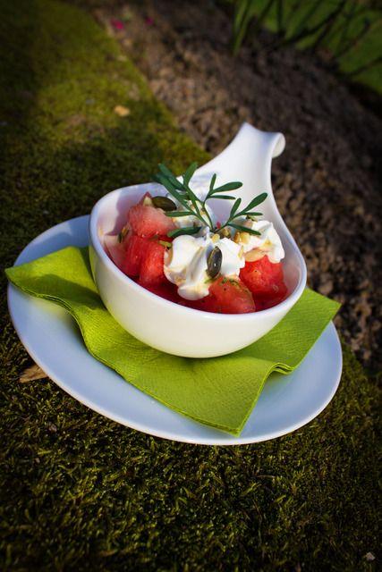 Melonensalat mit Ziegenkäsecreme | Kleine Dorfküche