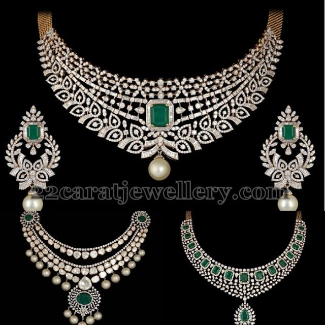 Square shaped emerald adorned opulent diamond necklaces with pearls. paired with matching chandbalis from Shobha Asar. Exclusive Jewelry By Shobha Asar | Jewellery Designs