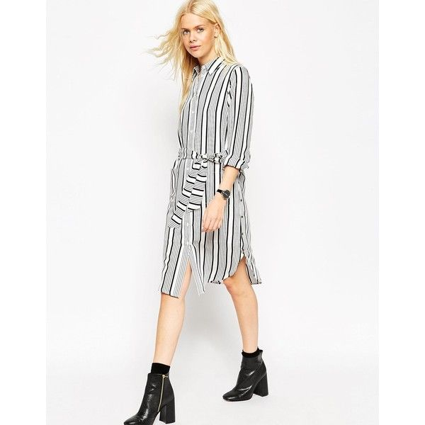 ASOS Shirt Dress in Stripe ($40) ❤ liked on Polyvore featuring dresses, multi, white tie dress, white studded dress, striped shirt dress, viscose dress and tall dresses