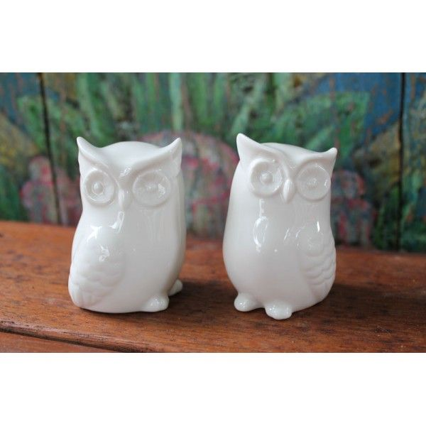 Set of 2 Little White Owls - Owl Homewares Online