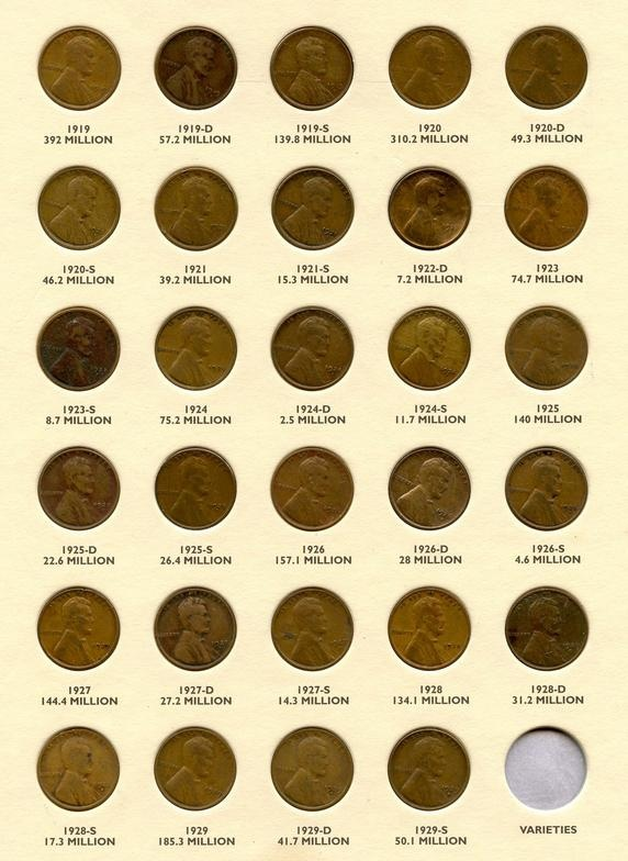 WHEAT PENNIES FROM 1919 TO1929