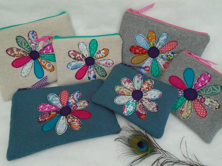 Handmade Cosmetic Makeup bag or Purse Choice of fabric, Vintage flower applique in Health & Beauty, Make-Up, Make-Up Cases & Bags   eBay