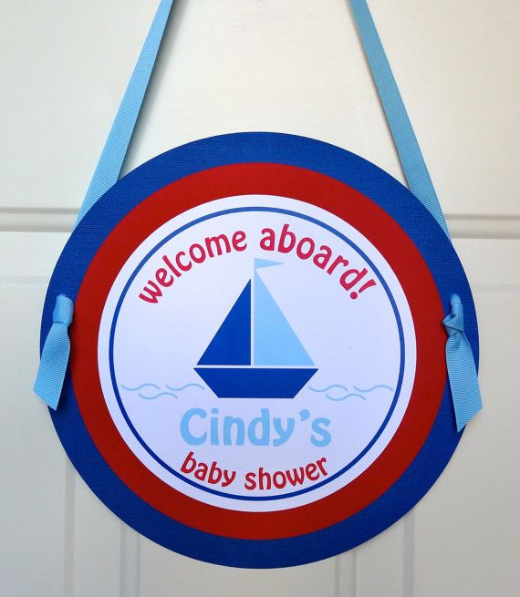 Red and Blue Nautical Baby Shower - Baby Shower Door Sign