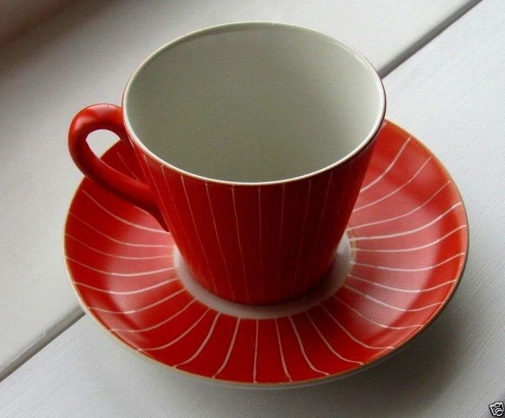 Upsala Ekeby Gefle, Red Striped Cup & Saucer Made in Sweden Pattern Zenit
