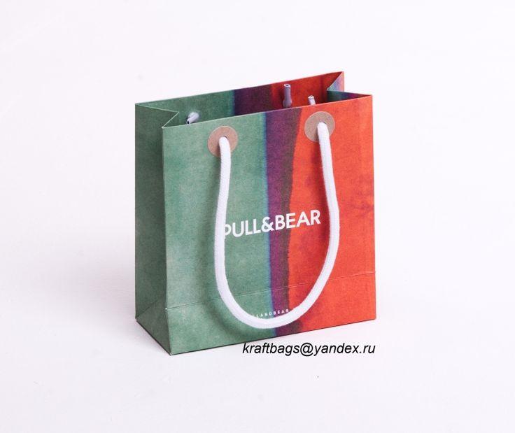 Бумажный пакет с верёвочным шнуром из хлопка