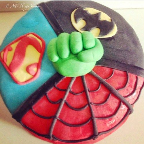 Cartoon Cakes - Red, Black, Blue and Green Fondant Cake. Spiderman, Superman, Batman and Hulk Fondant Cake | All Things Yummy | #allthingsyummy #fondant #superhero #cakes #cartoon