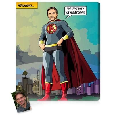 There is a kid in every man...Personalized Gifts for Man: Superhero Man Comic Art Custom Portrait With His Face