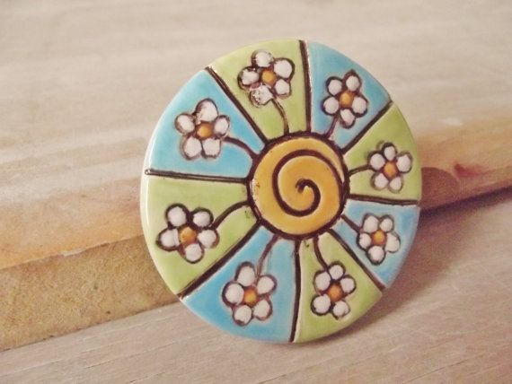Ceramic Pottery Spiral Flower Brooch - Blue Green - Shawl Pin - Gift Boxed