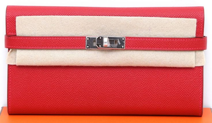 Hermes Kelly Wallet Long CASAQUE RED Epsom Leather Palladium HW ...