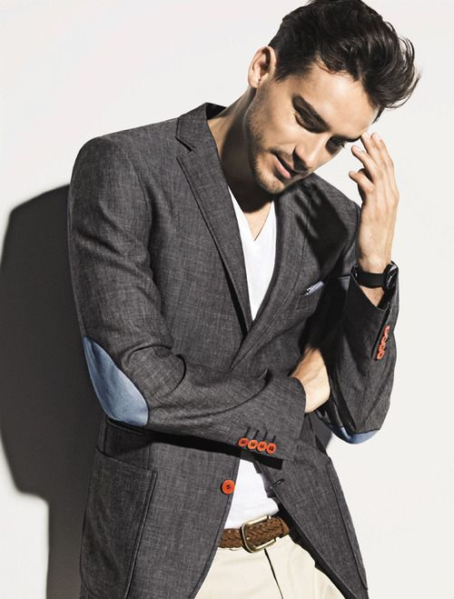 I really love everything about this blazer--the colored buttons, elbow patches and the color of this grey chambray.