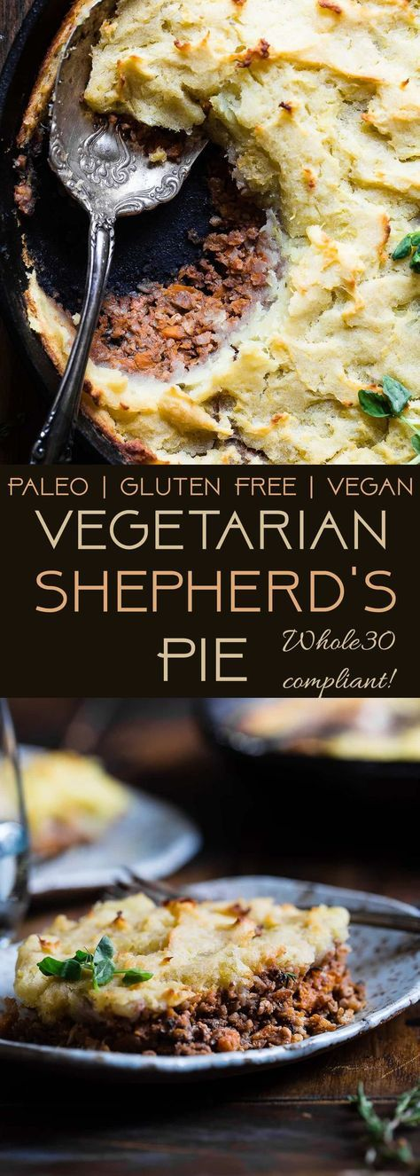 Vegetarian Shepherd's Pie - This whole30 and paleo shepherd's pie is a gluten, grain, and dairy free remake of the classic that is just as cozy and comforting! You'll never believe it's vegan friendly and healthy! | Foodfaithfitness.com | @FoodFaithFit