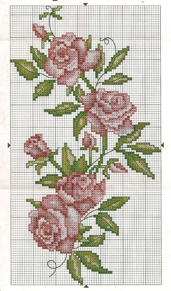 Cross stitch roses border... no color chart available, just use pattern chart as your color guide.. or choose your own colors...