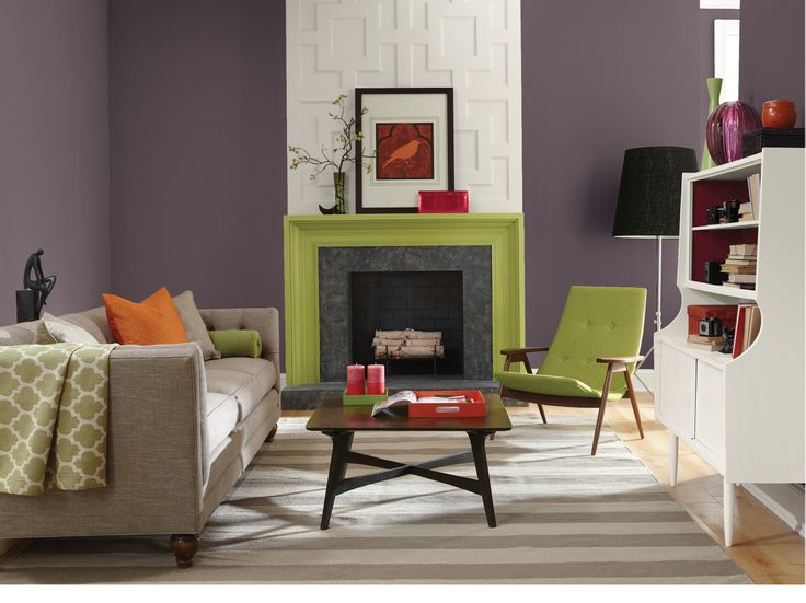 Chartreuse and magenta work well as accents purple for Plum living room ideas