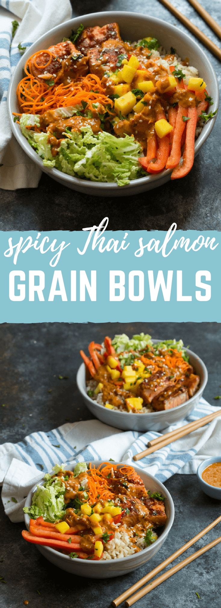 Spicy Thai Salmon Grain Bowls loaded with veggies, brown basmati rice and warm baked salmon and a drizzle of spicy Thai sauce. #ad