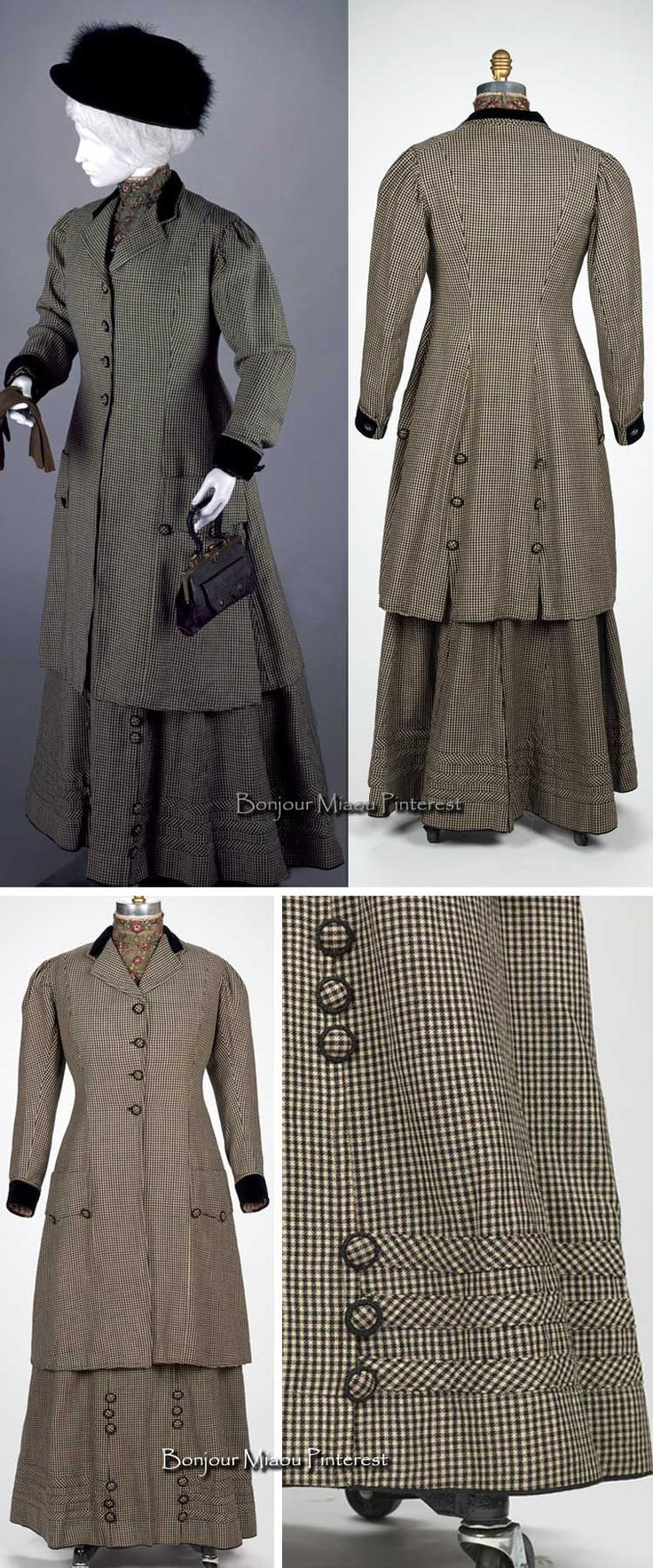 Suit, Louis Caplan, American, ca. 1907. Wool twill weave coat, bodice, and skirt with silk satin lining. Rhode Island School of Design Museum