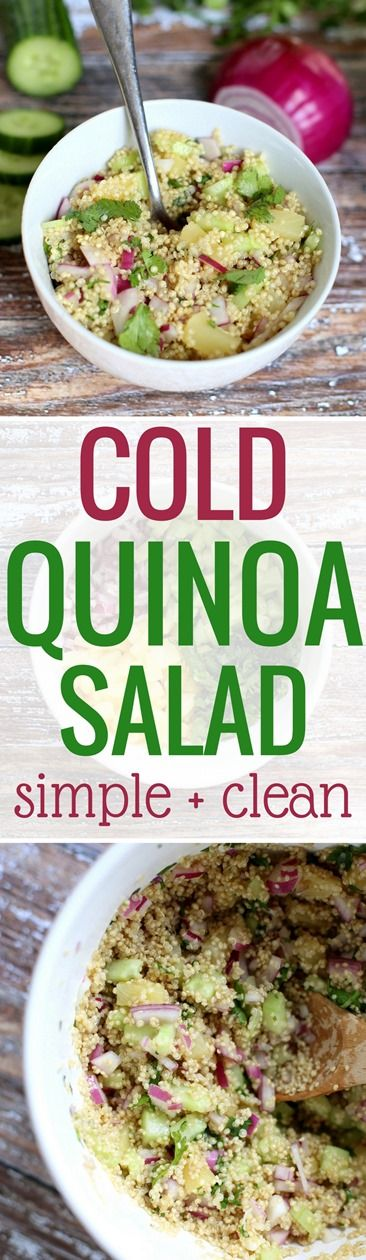Cold Quinoa Salad http://www.pbfingers.com/cold-quinoa-salad/ This recipe for cold quinoa salad will quickly become a spring and summertime staple in your house thanks to the bright, refreshing flavors of cucumber, pineapple and cilantro. It's the perfect side dish for a cookout with friends or a simple meal at home. Top with grilled chicken or shrimp for a delicious and nutritious lunch or dinner!