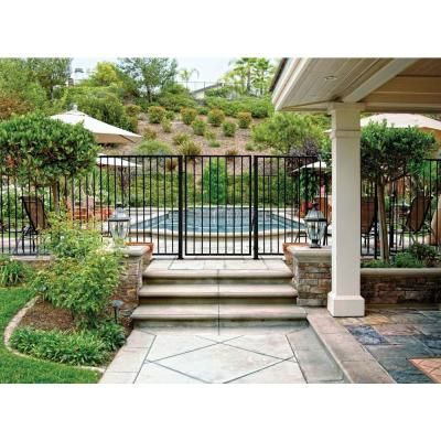 First Alert PRO Series 7-3/4 ft. x 4-5/6 ft. Black Galvanized Steel 2-Rail Fence Panel (16-Pack)-F2GHDS93X5816PK - The Home Depot