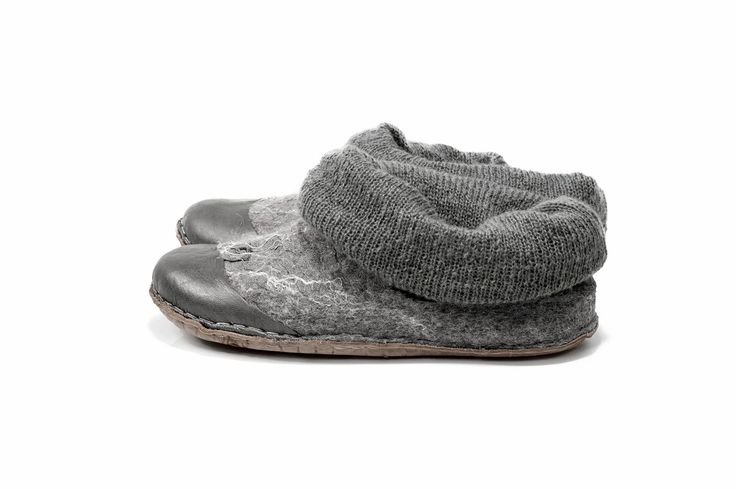 Comfy Gray shoes Natural felt wool shoes whit knitted top Handmade felted wool shoes womens