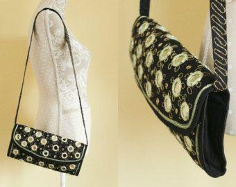Embroidered Leather Bag Tribal Bag Boho Leather Bag by Hanamer