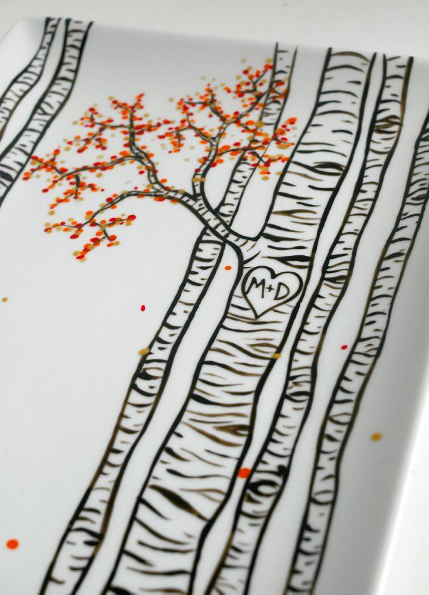 Birch Trees Hand Painted Personalized Platter by MaryElizabethArts.com $68
