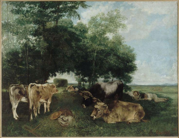 Gustave Courbet. La sieste pendant la saison des foins (montagne du Doubs). 1868. Huile sur toile. H. 212 x L. 273 cm