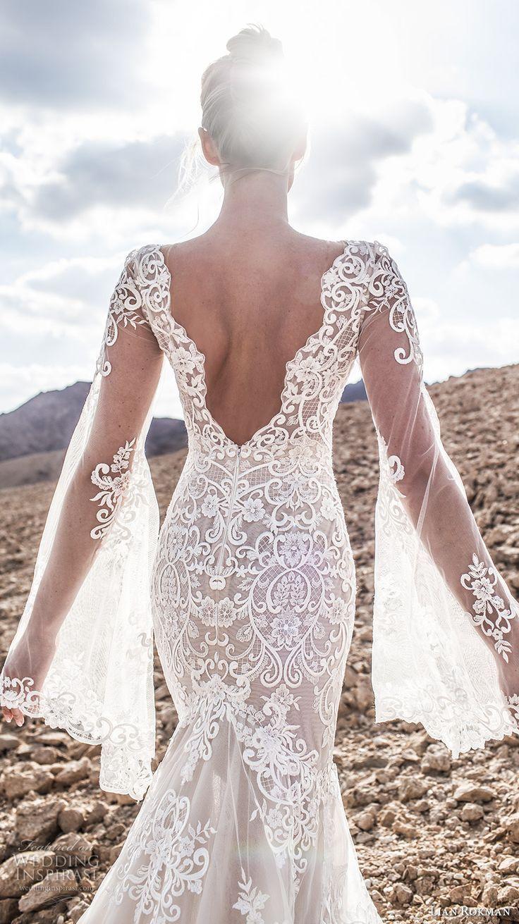 lian rokman 2017 bridal long bell sleeves deep plunging v neck full embellishment elegant sexy mermaid wedding dress open v back chapel train (moonlight) zbv -- Lian Rokman 2017 Wedding Dresses
