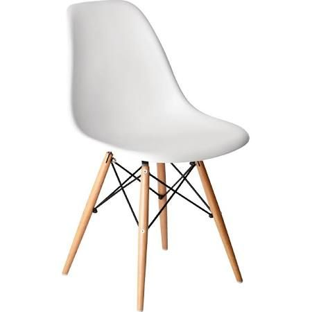 PP Moulded Chair (White) with Wooden Spindle Legs (Pack of 2) (GG913)