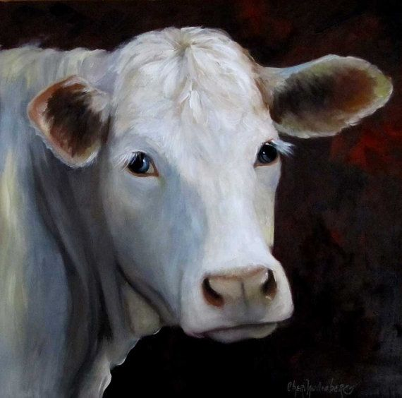 Fair Lady Cow Painting Charolais White Gray Cow by ChatterBoxArt