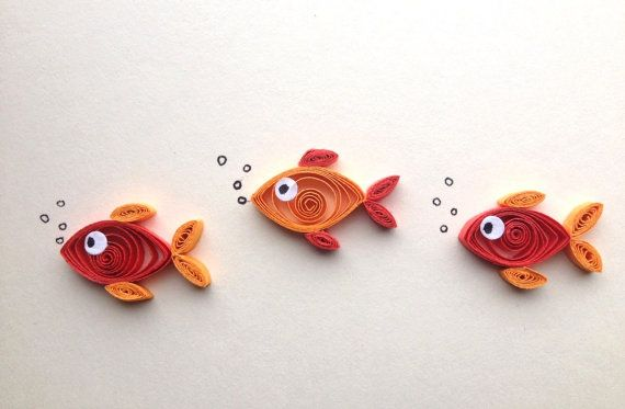 Fish on cream background, quilled art, greeting card, blank card, insects, animals.  Quilling is a technique of rolling up thin strips of paper to