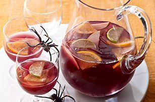 VAMPIRE SANGRIA  2cups cold water2cups red wine1pkt. (makes 2 qt. drink) CRYSTAL LIGHT Lemonade Flavor Drink Mix*1navel orange, sliced1apple, sliced1lime, sliced2cups cold club soda