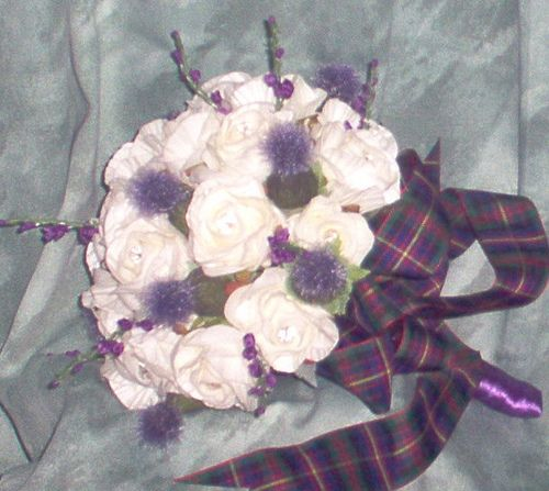 brides posy of roses/thistles/heather (+Cameron of Erracht Tartan Ribbon)