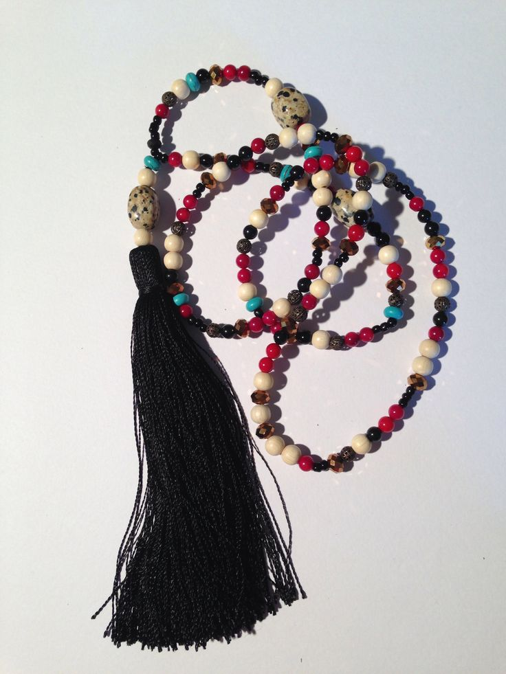 Boho chic extra long black tassel necklace