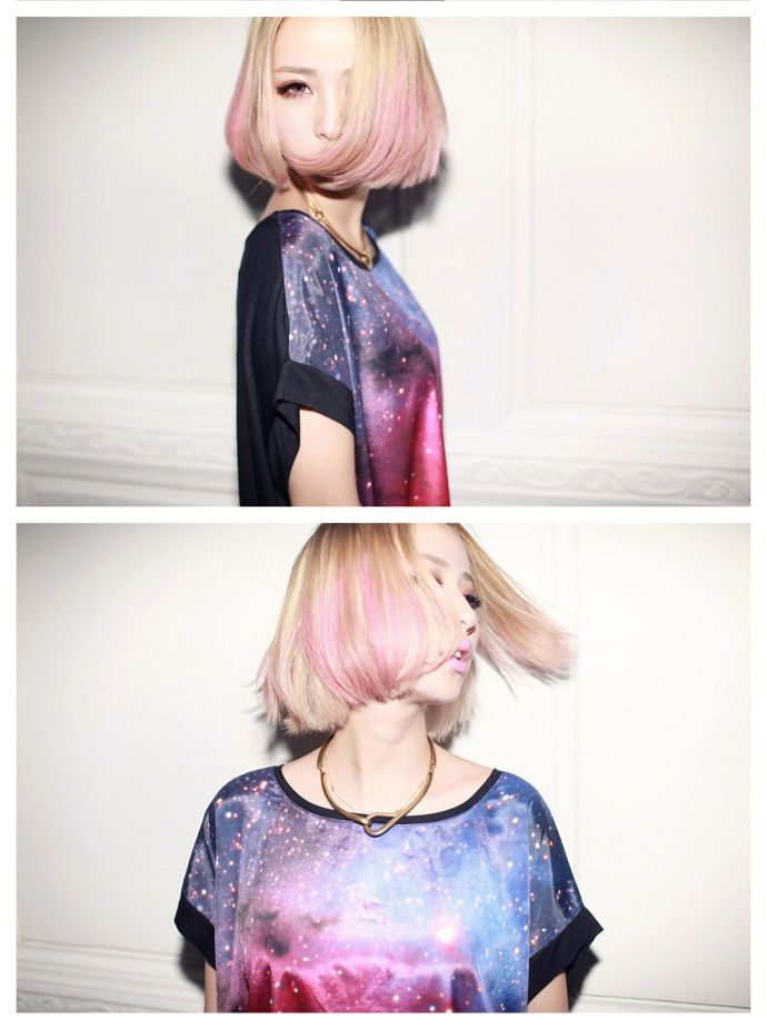 pink blonde ombre bob